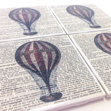 Ceramic Tile Coasters - Red Hot Air Balloon - Set of 4 - Upcycled Dictionary Page Book Art - Home Decor