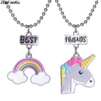 2PCS/set Unicorn Pendants Necklace Best Friends Forever Charms Chain Choker Necklace for Girls Kids Gift Jewelry Dropship
