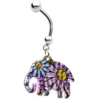 Multicolored Flowered Elephant Dangle Belly Ring | Body Candy Body Jewelry