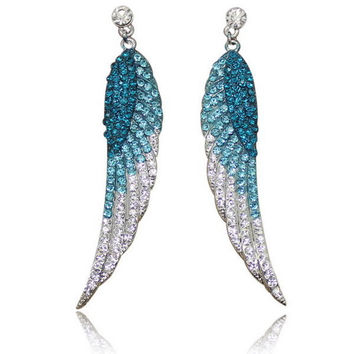 Women's Stud Earrings Jewelry Trendy Long Rhinestone Angel Wings Feather Crystal Earrings with Stone