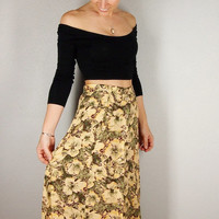 Yellow Floral Maxi Skirt, Button Up HIGH WAIST Skirt, Yellow and Green, XS Small boho hippie gypsy