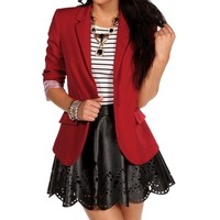 Sale-deep Red Striped Lining Boyfriend Blazer