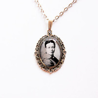 Simone de Beauvoir - Handmade Vintage Cameo Pendant Necklace - Literature Jewelry