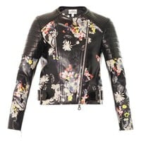 Jade Eames garden print leather biker jacket