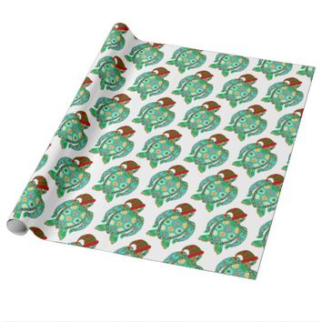 Santa Claus Beach Sea Turtle Wrapping Paper
