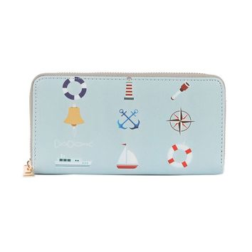 NAUTICAL PRINT VINYL CLUTCH WALLET