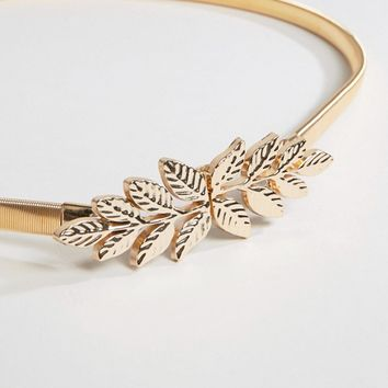 True Decadence Metal Leaf Occasion Belt in Gold at asos.com
