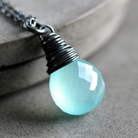 Aqua Blue Faceted Chalcedony Oxidized Sterling by GlitzGlitter