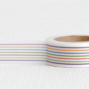Horizontal Rainbow Stripe Washi Tape, Great for All Occasion Wrapping Rainbow Party Invitation DIY, 15mm x 10m
