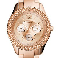 Women's Fossil 'Stella' Crystal Bezel Multifunction Bracelet Watch, 38mm - Rose Gold