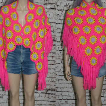 70s Crochet Shawl Granny Square Floral Neon Daisy Sweater Jumper 60s mod mod boho festival hipster rave fringe hippie poncho pink