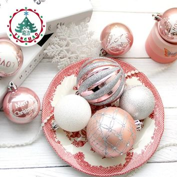 inhoo 2017 Christmas Tree Decoration Ball Ornaments Pendant Accessories 8cm Silver powder Balls Wedding For Christmas Home Party