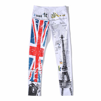 GMANCL Printed Jeans Men And Women Paint Moto Denim UK Flag Hip Hop Slim Fit White Elastic Biker Clothing Plus Size 28-42 Pants