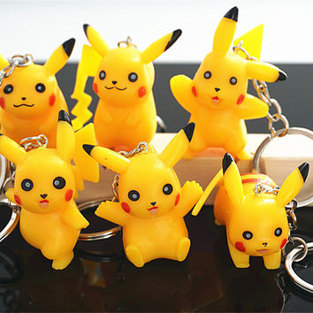 6Pcs Pikachu Keychain Cartoon Pokemon Go Pocket Monster Ornaments Key Chain Keyrings Cute Christmas Gift