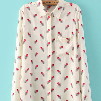 Beige Feathers Print Long Sleeve Shirt Collar Single Pocket Blouse