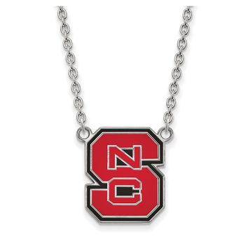 NCAA Sterling Silver North Carolina Large Enameled Pendant Necklace