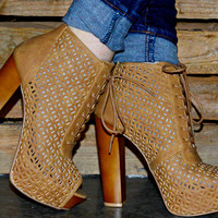 GIRLS RUN THE WORLD BOOTIES IN TAN