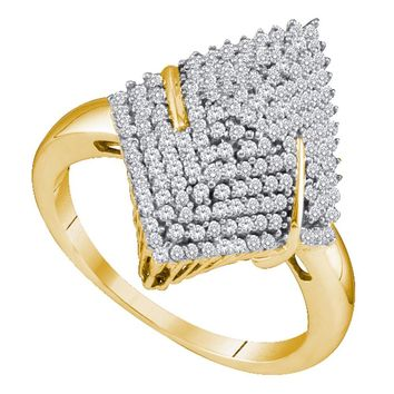 10kt Yellow Gold Womens Round Diamond Pointed Oval Arched Cluster Ring 1/2 Cttw