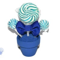 Mini Royal Blue Lollipop Arrangement, Royal Blue, Lollipop, Candy, Edible, Wedding, Favor, Bridal Shower, Baby Shower, Sweet 16, Bar Mitzvah