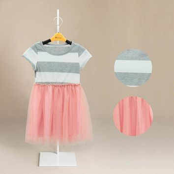 New Patchwork Kids Girls Dress Princess Flower Tutu Dress Party Cute Formal Striped Ball Dresses Clothing For 2 4 6 8 10 Years