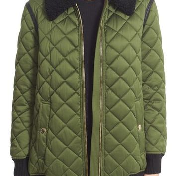 Burberry Hydalelt Quilted Jacket with Genuine Shearling Collar | Nordstrom
