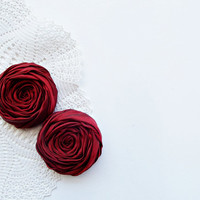 Dark Red Fabric Roses Handmade Appliques Embellishment Set of 2