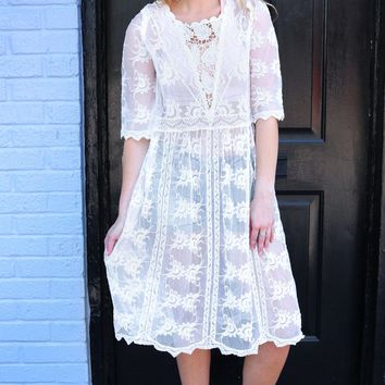 Midi Lace Dress - Natural by POL Clothing