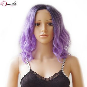 s-noilite 40cm Body Wave Lace Front Synthetic Wig for Women Ladies 150% Density Heat Resistant Full Hair Wigs Mix Dark Purple