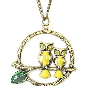 Two Perched Owls Necklace Vintage Wreath Animal Charm ND11 Retro Owl Branch Bird Pendant Fashion Jewelry