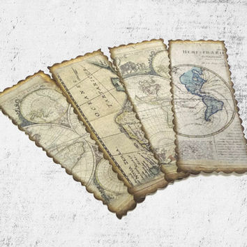 Antique Map Bookmarks, Vintage Style, Travel Themed Party Favors, World Map Bookmarks, Travel Gift, Set of 4