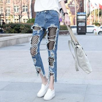ac DCK83Q Plus Size Pants Summer Cropped Pants Strong Character Ripped Holes Lace Jeans [45271056409]