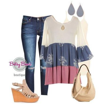 (pre-order) Set 196: Denim Blue Floral Color Block Tunic (incl. top, tank & earrings)