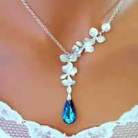 Bermuda Blue Peacock Orchids Necklace, Wedding Necklace, Blue Wedding | Vivian-Feiler-Designs - Wedding on ArtFire
