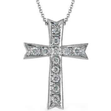 Simon G. 18K White Gold Classic Diamond Cross Pendant