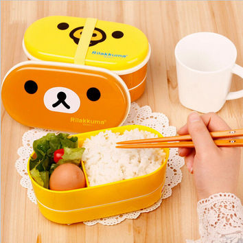 Hot Sell Microwave Rilakkuma Bento Multilayer Children Lunch Box Brown Bear & Yellow Chick(00003)