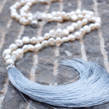 Pearl japa mala beads Upscale luxe boho necklace Neutral cream white bohemian necklace Moonstone mala meditation yoga necklace Lotus flower