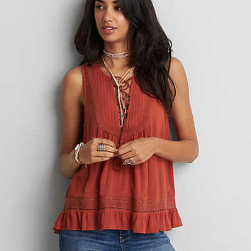 AEO Lace-Up Tassel Tank, Rust