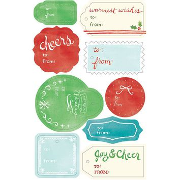 Watercolor Die-Cut Holiday Gift Tags