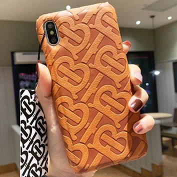 Burberry New fashion letter print protective cover iphone phone case  Brown