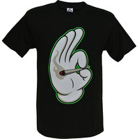 Cartoon Hand Holding Weed Joint Mens Shirt