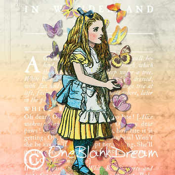 Alice In Wonderland We're All Mad Here 8x 10 & 5x7 collage art original digital download supplies print sheets whimsy Jpeg and PDF