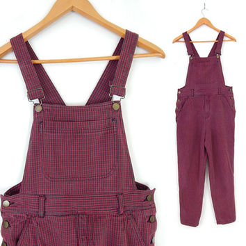 Vintage 80s Baggy Checked ESPRIT Women's Overalls / Dungarees - Size Small - Oversized Red and Black Bib Overalls - 5 / 6