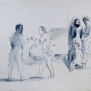 PEOPLE in the STREET City Sketch original drawing road car town scene Conversation Paris Authentic art directly from the artist unique gift