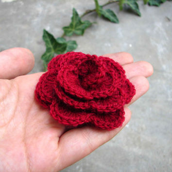 Crochet rose brooch in soft acrylic, burgundy shawl pin, dark red applique, choose color