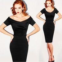 V-neck short-sleeved waist dress sexy bandage dress