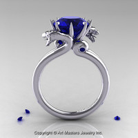 Scandinavian 14K White Gold 3.0 Ct Blue Sapphire Dragon Engagement Ring R601-14KWGBS