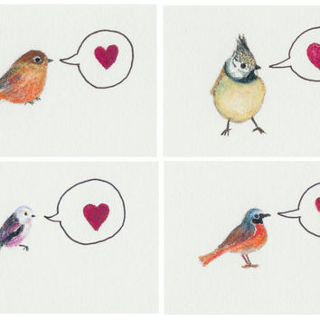 Set of mini Valentine's day cards with bird art. Original watercolor & watercolor pencil paintings. Art from Finland. Unique bird cards.