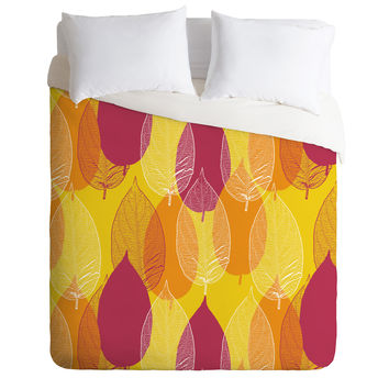 Aimee St Hill Big Leaves Yellow Duvet Cover