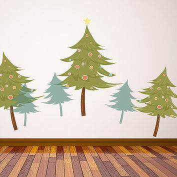 Christmas Trees with Ornaments Wall Decal - Vinyl Fabric - Vinyl Sticker - Chirstams Decoration -  CD69