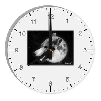 "TooLoud White Wolf Moon 8"" Round Wall Clock with Numbers"